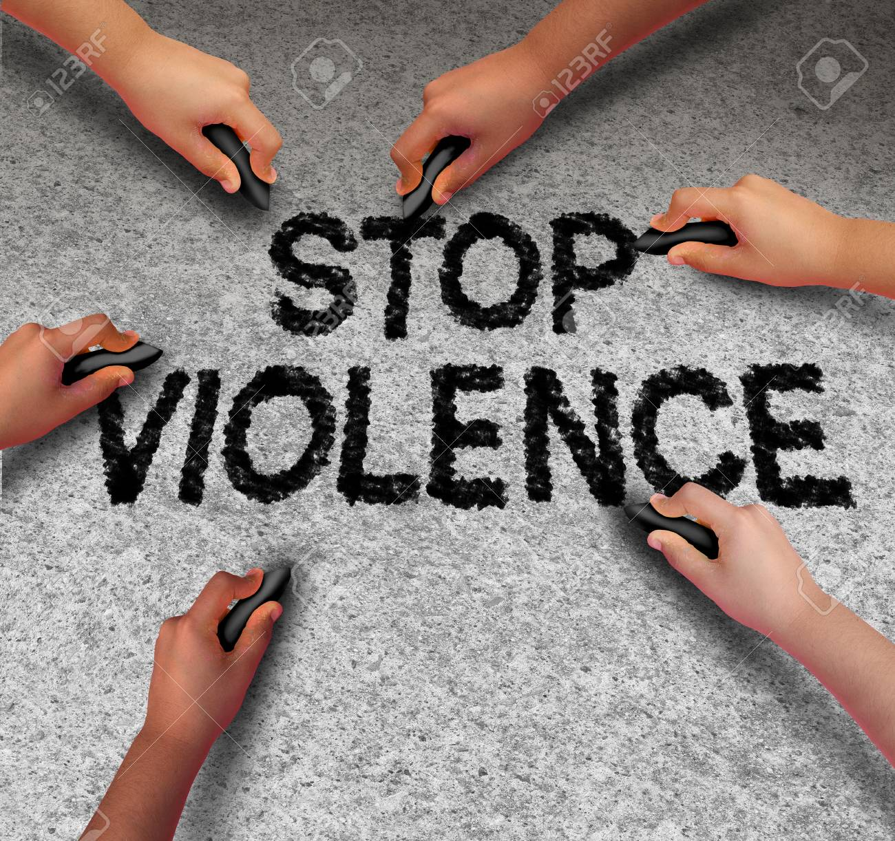 Stop Violence Concept And Prevent An Assault As A Group Of Children