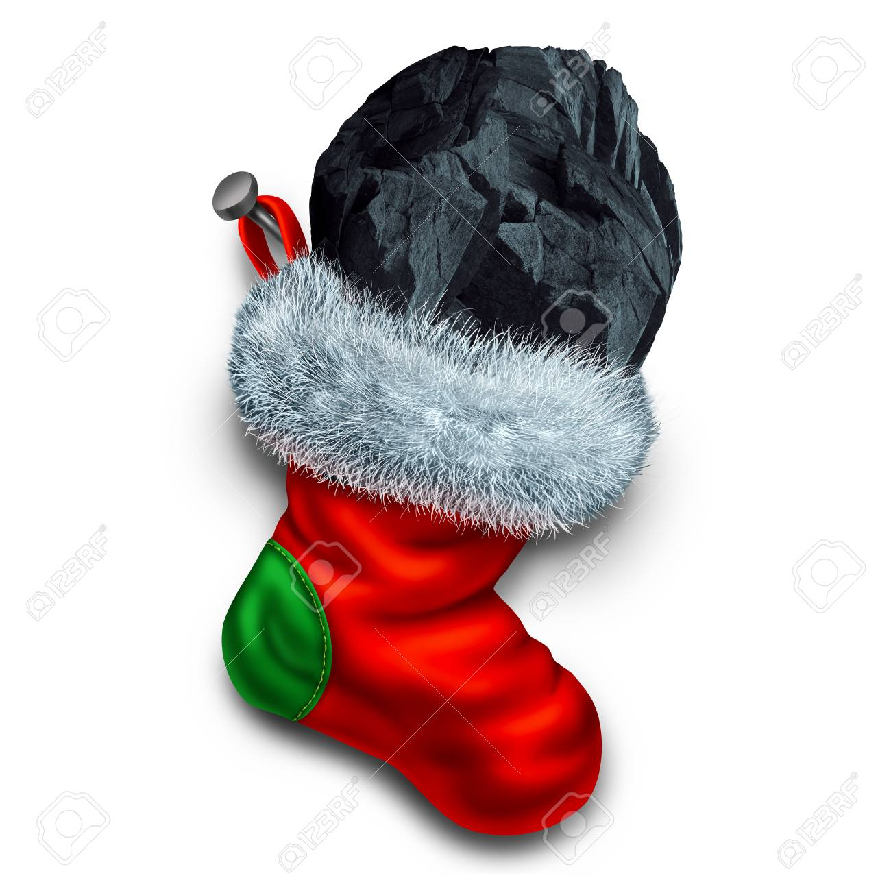 Chunk Of Coal In Holiday Stocking As A Christmas Symbol For Naughty ...