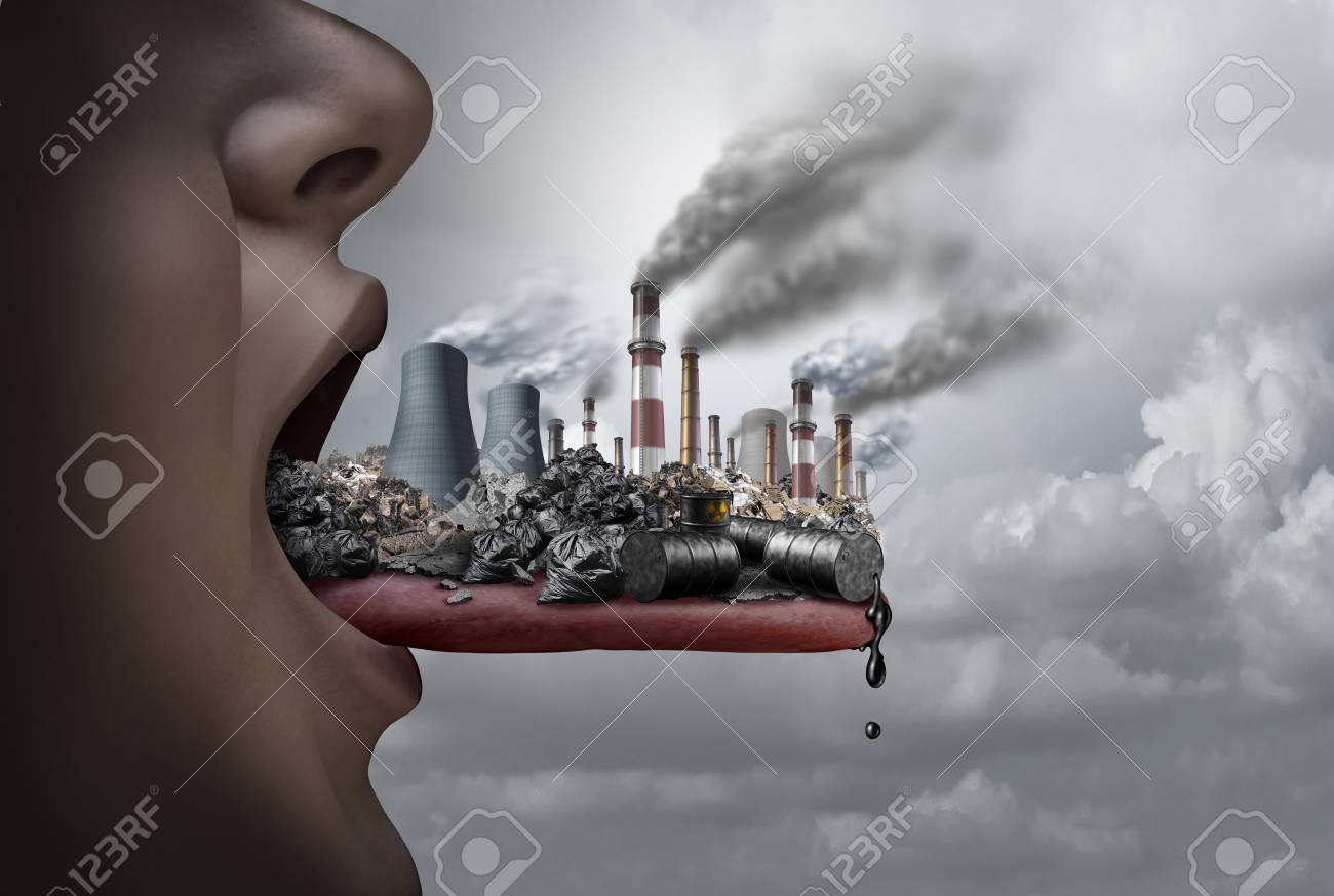 Toxic pollutants inside the human body and eating pollutants as an open mouth ingesting industrial toxins with 3D illustration elements. - 90791385