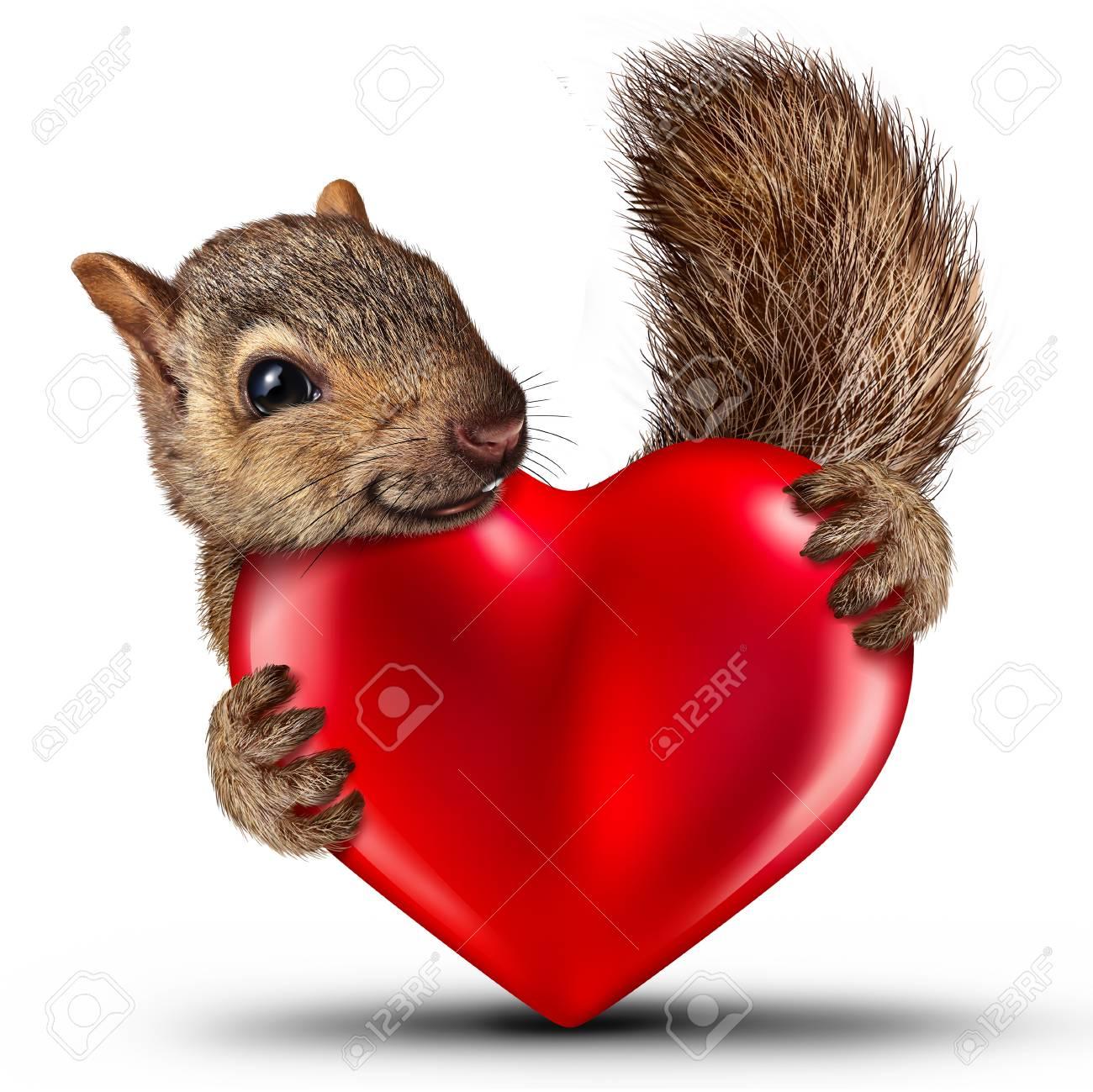 Nettes Eichhörnchen Des Valentinsgrußes Als Feiersymbol Eines ...