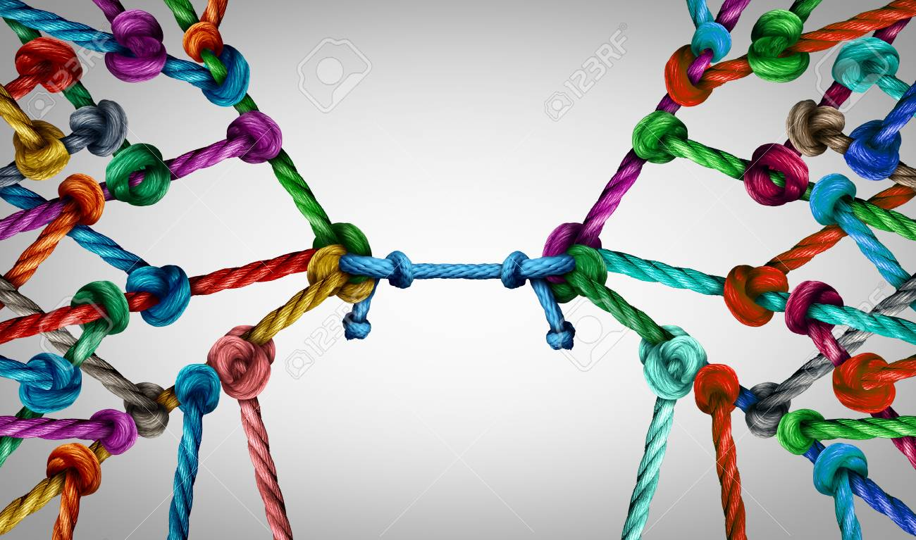 Connecting teams and connected group concept as many different ropes tied and linked together as an unbreakable chain as business trust metaphor linking partners for teamwork support and strength. - 103243907