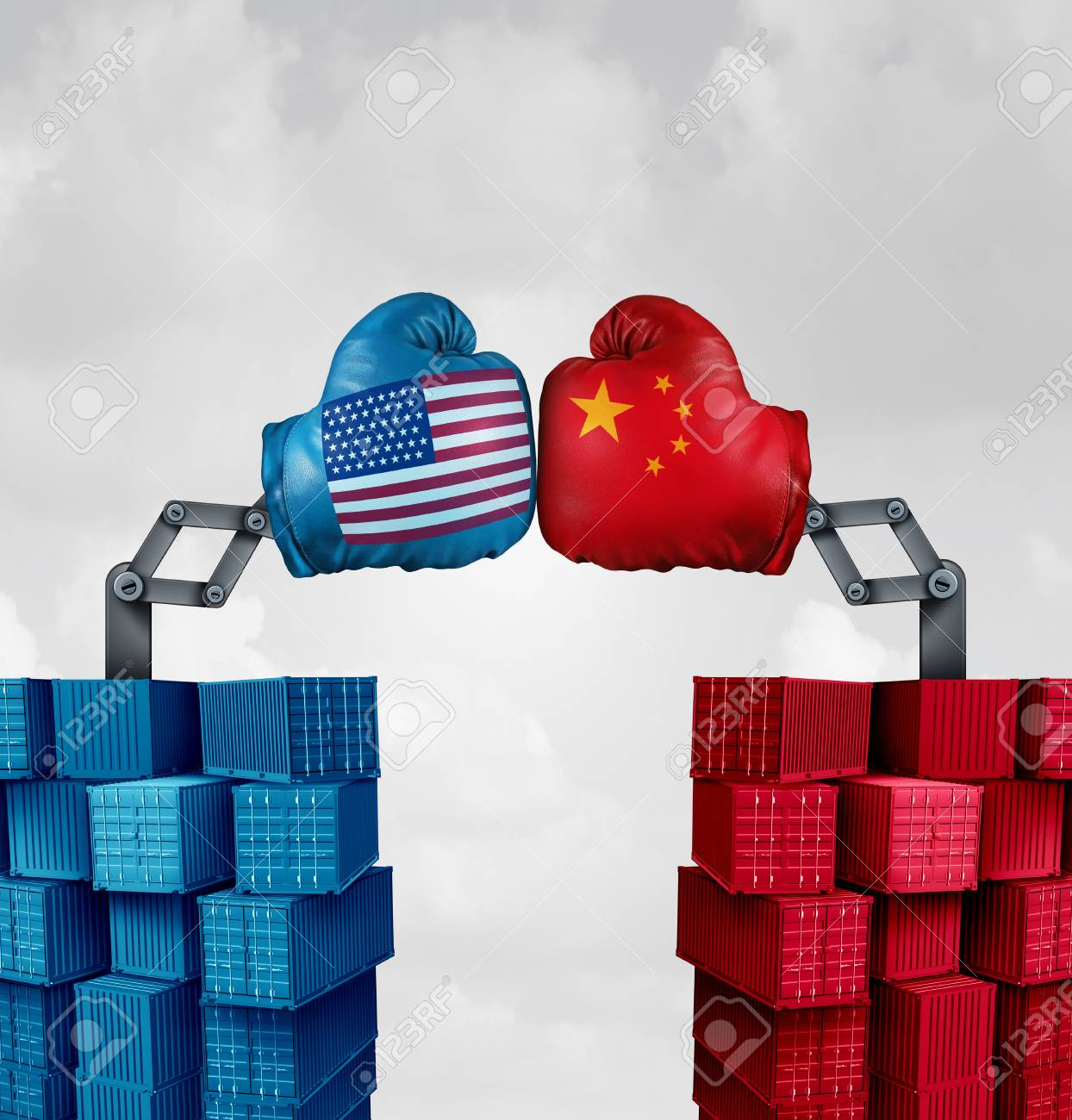 Trade war US China or American tariffs fight as two opposing cargo groups fighting as an economic punitive taxation dispute over import and exports concept as a 3D illustration elements. - 109067400