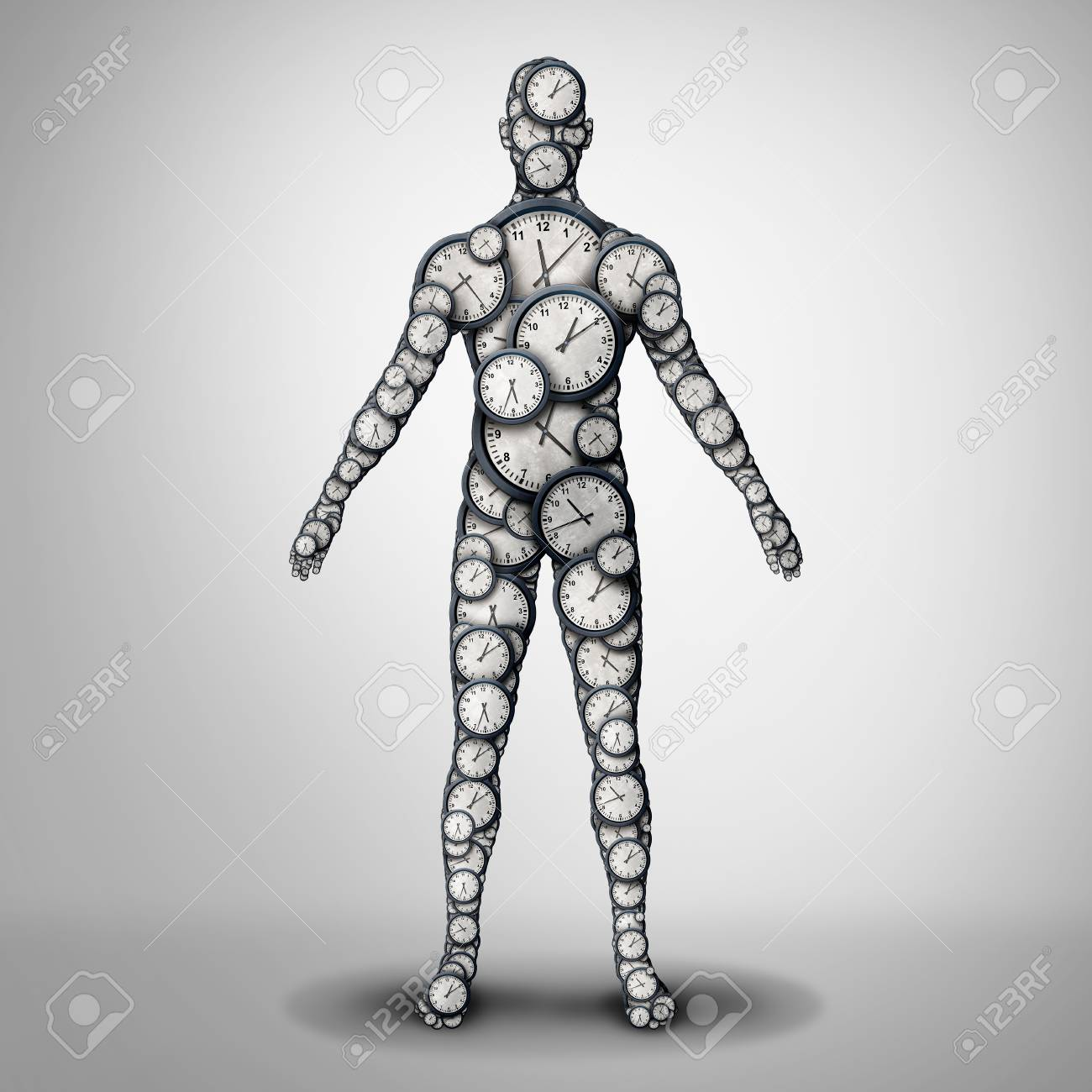 Body clock health and circadian rhythm or sleep disorder and life longevity or lifespan medicine concept as a 3D illustration. - 114513756