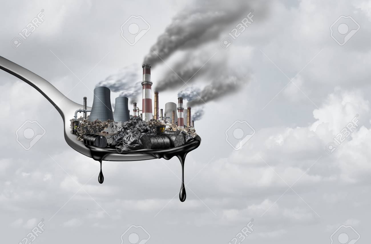 Pollution in food and toxic chemical eat,surreal,surrealistic,idea,contaminants that people ingest as a health and safety concept as a spoon with polluting industry dripping with petroleum as a 3D illustration. - 117141094