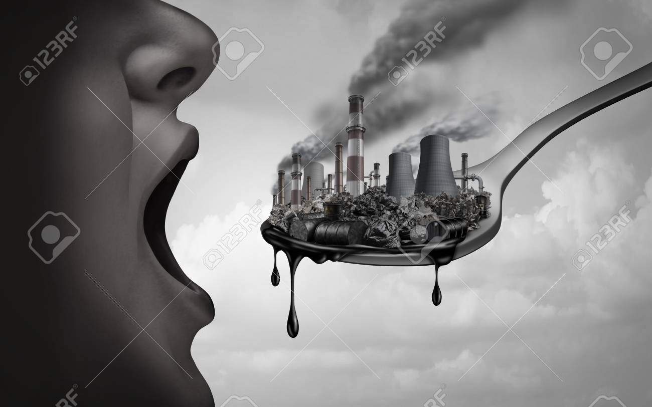 Concept of pollution and toxic pollutants inside the human body and eating contaminated food as an open mouth ingesting industrial toxins or climate change affects on the body with 3D illustration elements. - 119265536