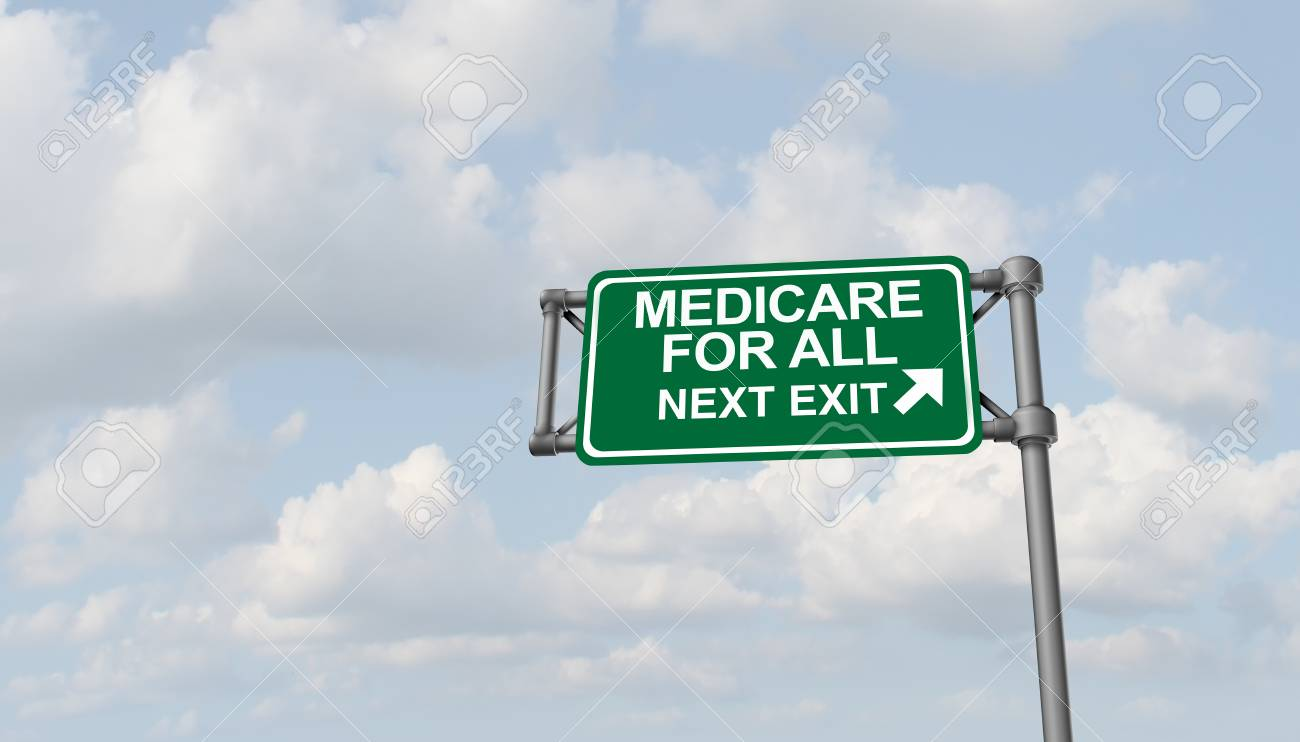 Medicare for all national health insurance concept as a political social policy as a 3D illustration. - 121702637