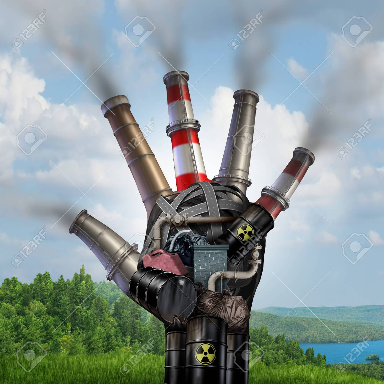 Danger of Climate change and extreme weather concept with a polluted dirty industrial hand destroying the fragile green natural landscape with 3D illustration elements. - 124773490