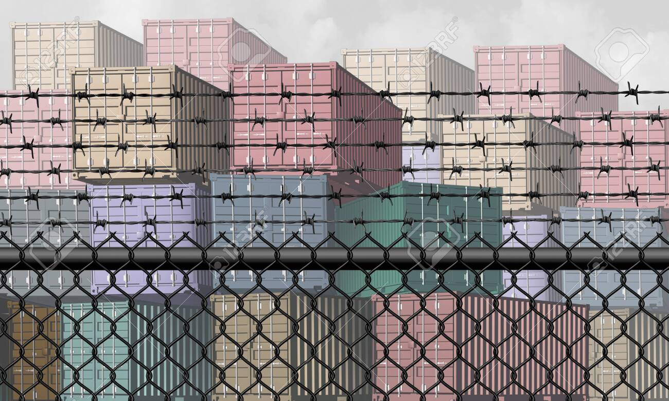 Closed economy and barrier to trade and economic restrictions as a fence restricting import and export commerce and global trading business industry with a shipping port concept as a 3D illustration elements. - 125810095