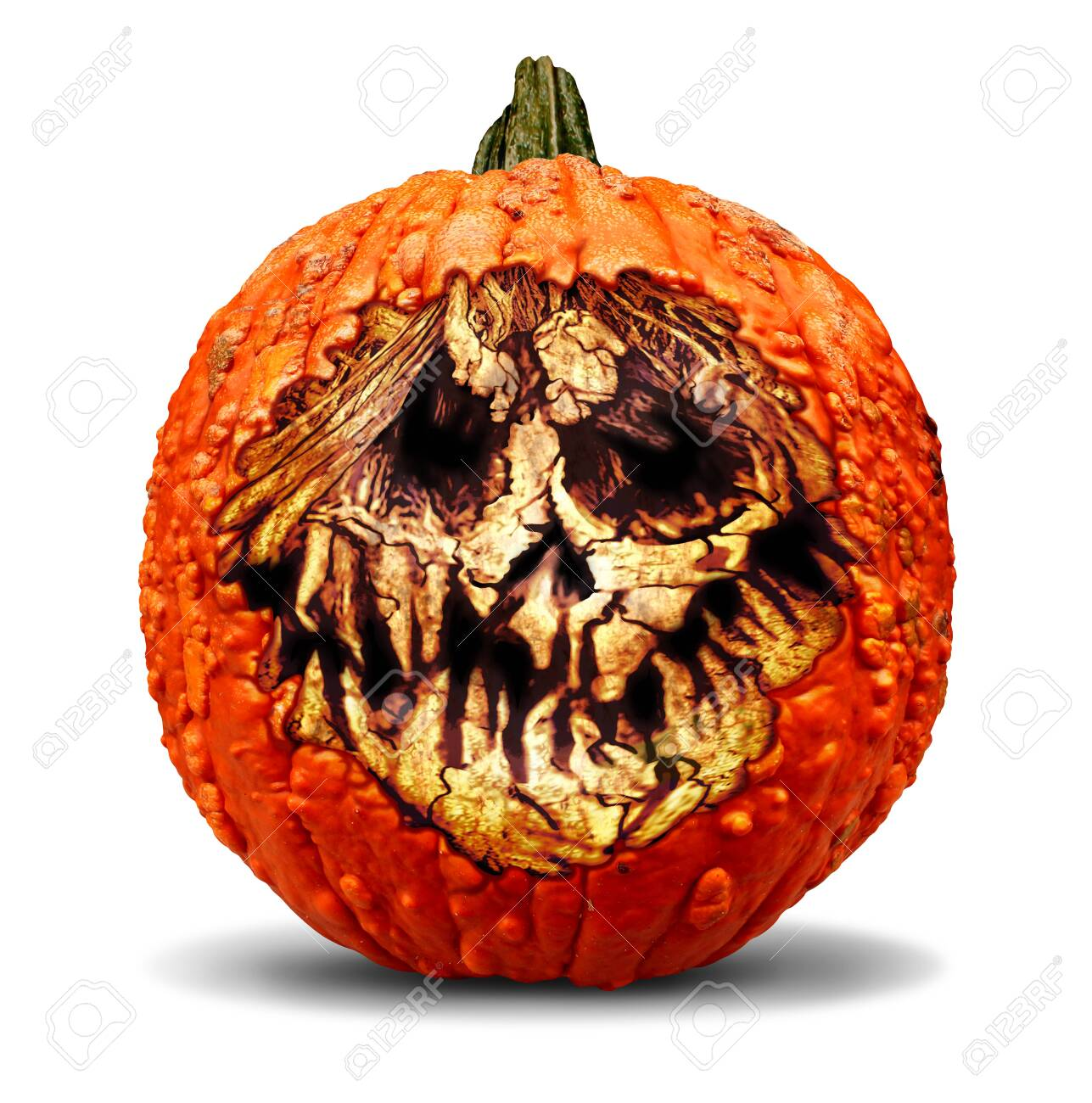 Creepy Halloween Jack O Lantern Pumpkin With A Carved Evil Scary Stock Photo Picture And Royalty Free Image Image 127787359