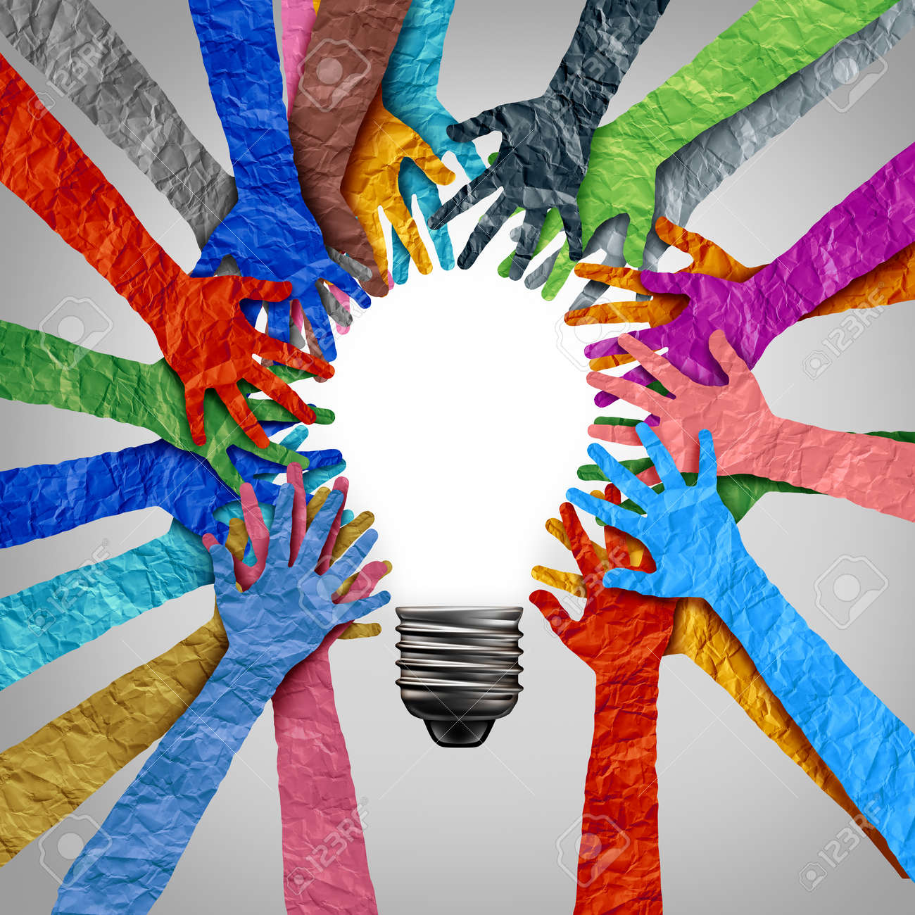Global diversity ideas and diverse society thinking together as a team or a group of people uniting together joining hands into the shape of a motivational light bulb as a community metaphor with 3D elements. - 168097203