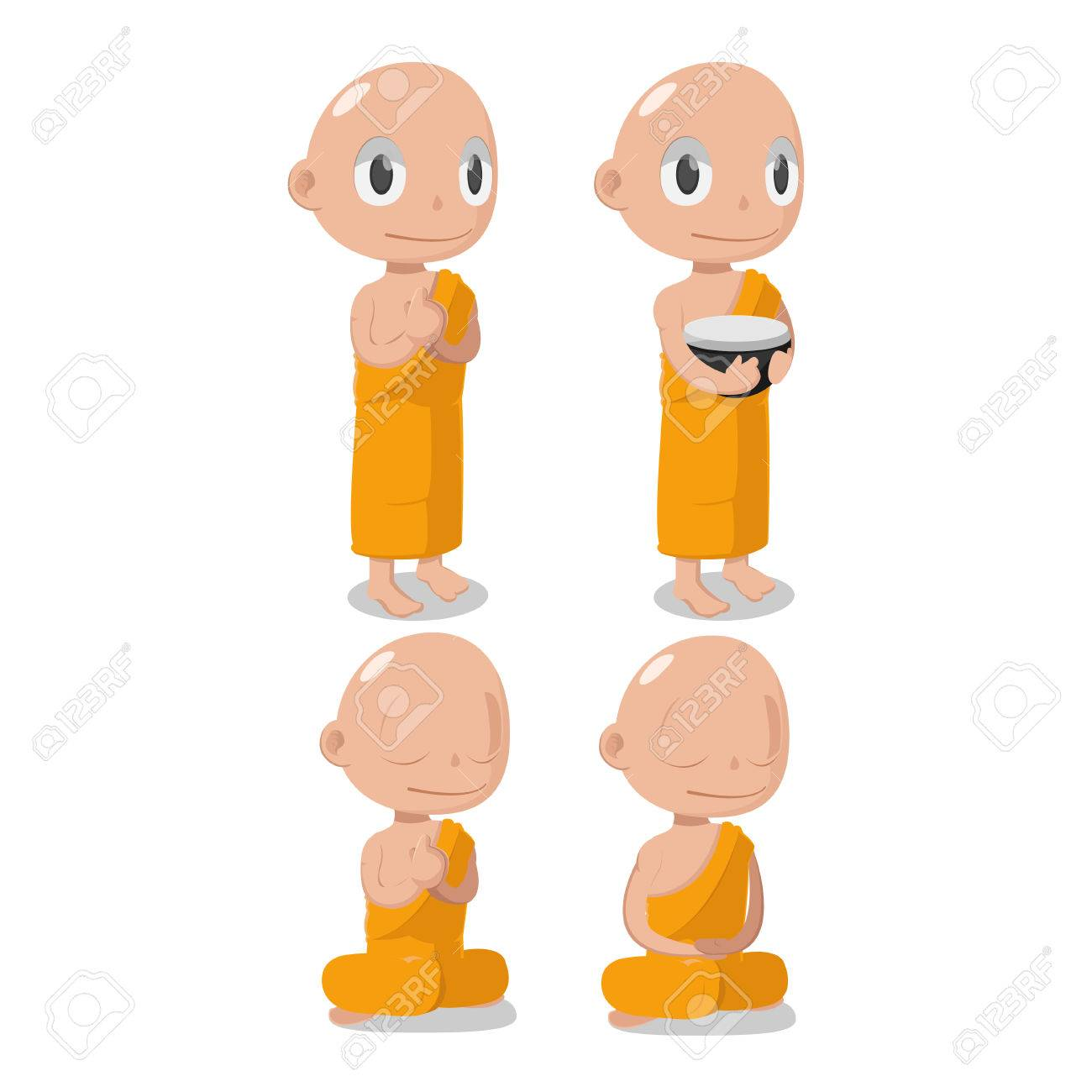 Monk Buddha Cartoon Cute Character Vector