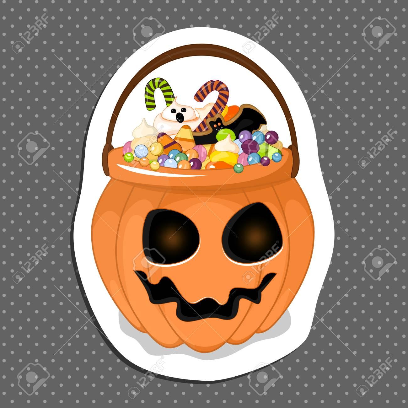 Halloween Snoep.Halloween Emmer Met Snoep Wordt Gevuld Dat Geisoleerde Witte Achtergrond Sticker Voor Uw Ontwerp Voorraad Vector