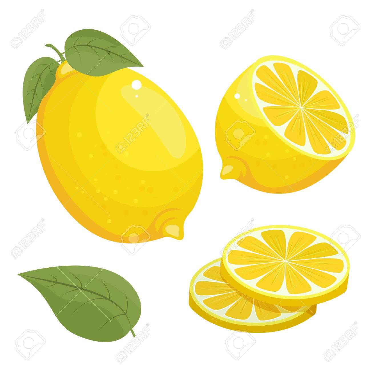 要素レモンのセットは白い背景で隔離のイラスト アイコンをベクトルし