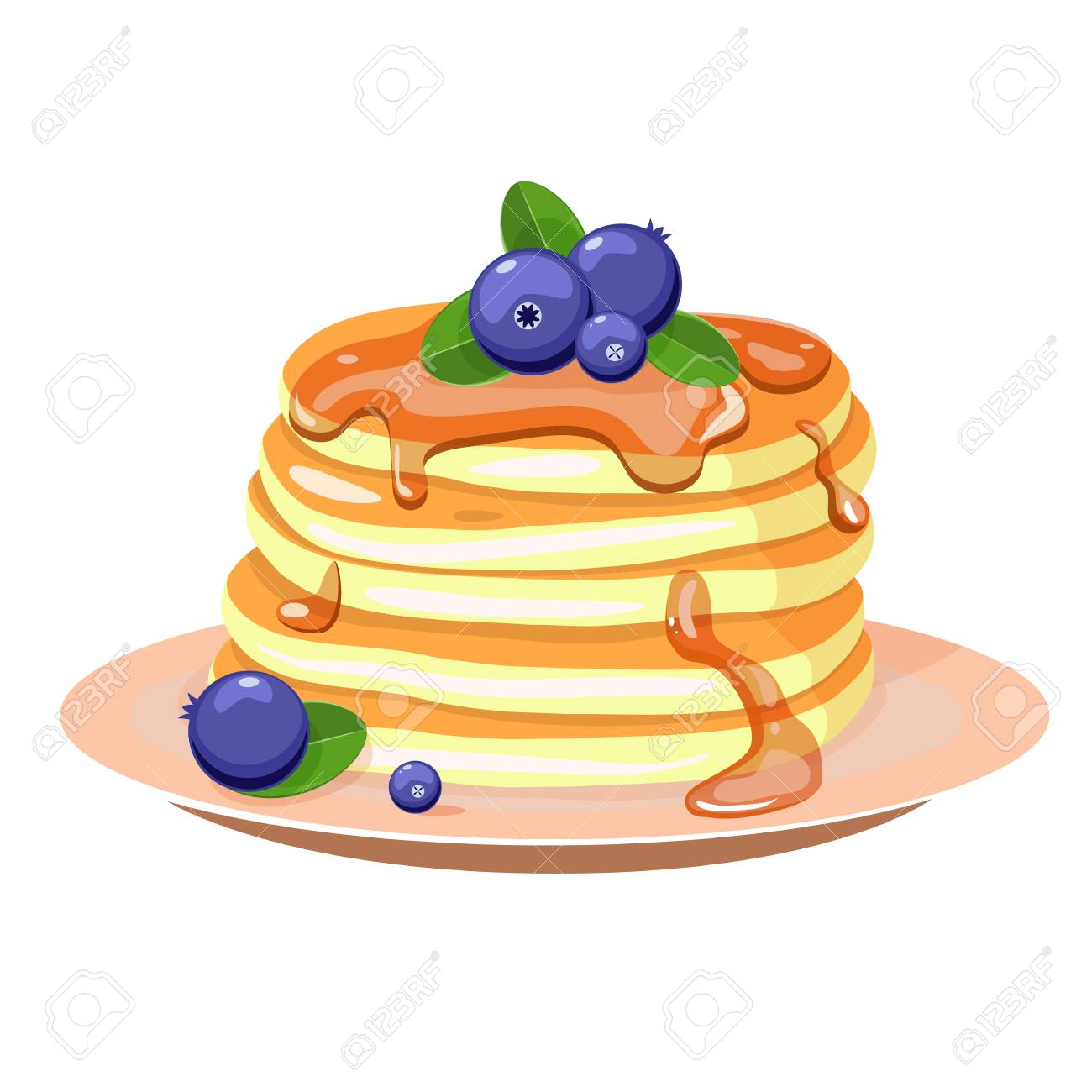 Pancakes with blueberry and mint leaves. Vector illustration. - 93568749