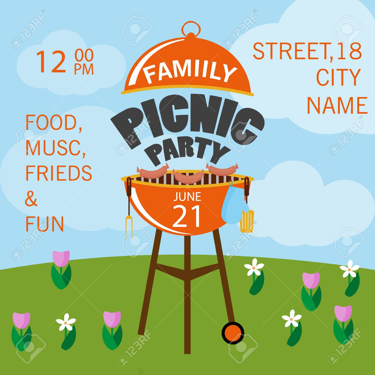 lovely vector barbecue party invitation design template set
