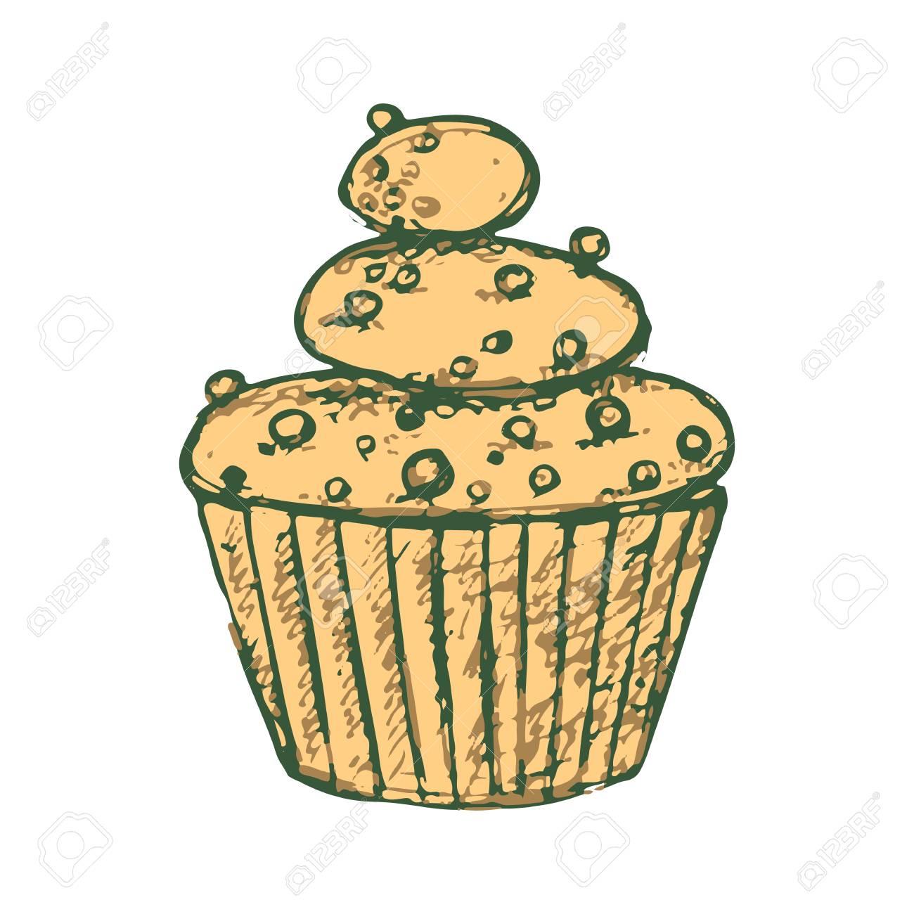 Skizzieren Sie Einen Leckeren Kuchen Susses Clipart Vektor