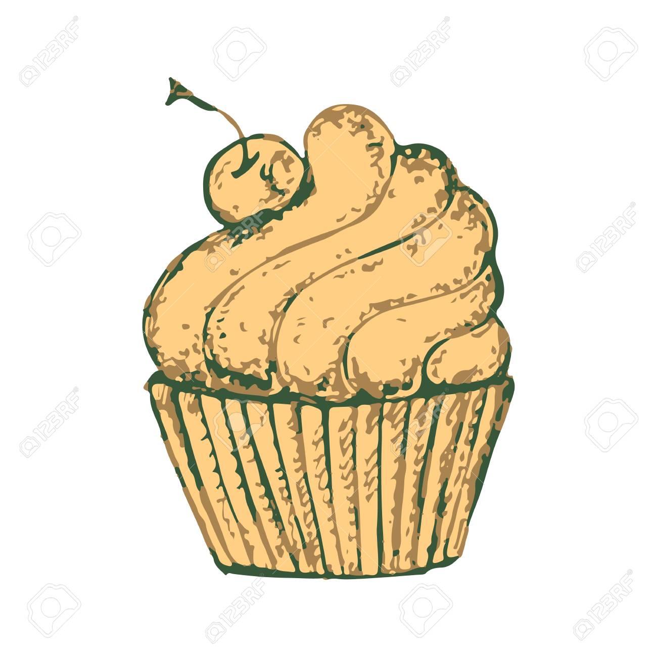 Skizzieren Sie Einen Leckeren Kuchen Susses Clipart Mit Einer Creme