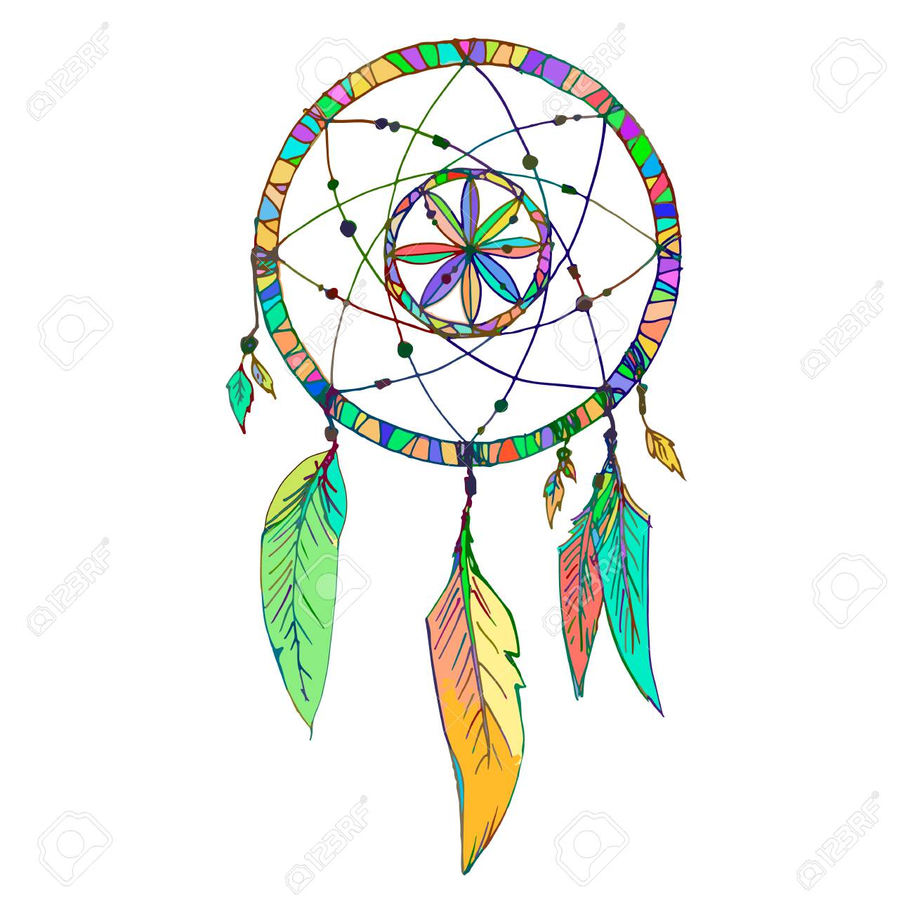- Indian Dream Catcher With Beads Feathers. Sketch Style. Color
