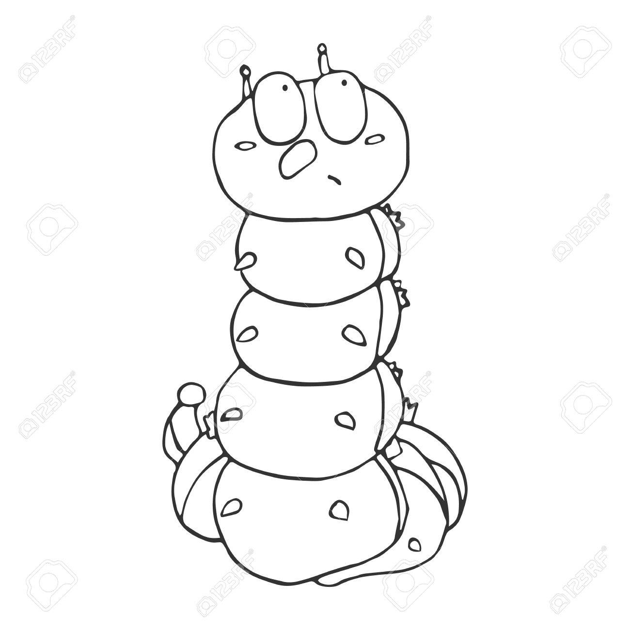 c308fa8eb02 The outline of the caterpillar in cartoon style. A sketch of..