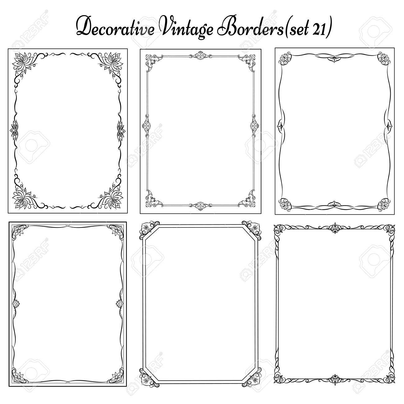 set of vintage borders and frames royalty free cliparts vectors