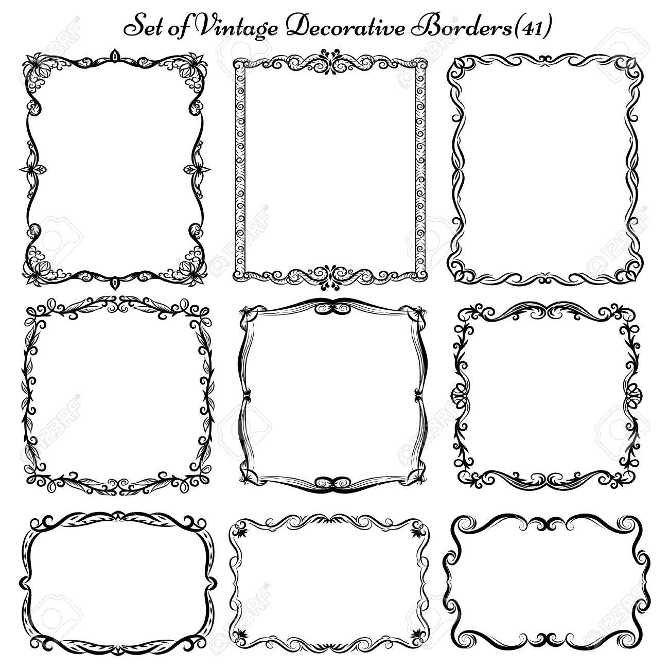 set of decorative vintage borders frames royalty free cliparts