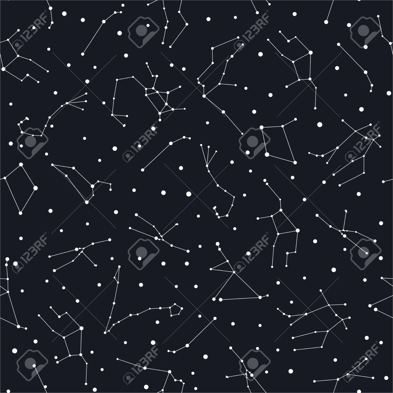 Zodiac Constellations Seamless Pattern White Stars On The Dark