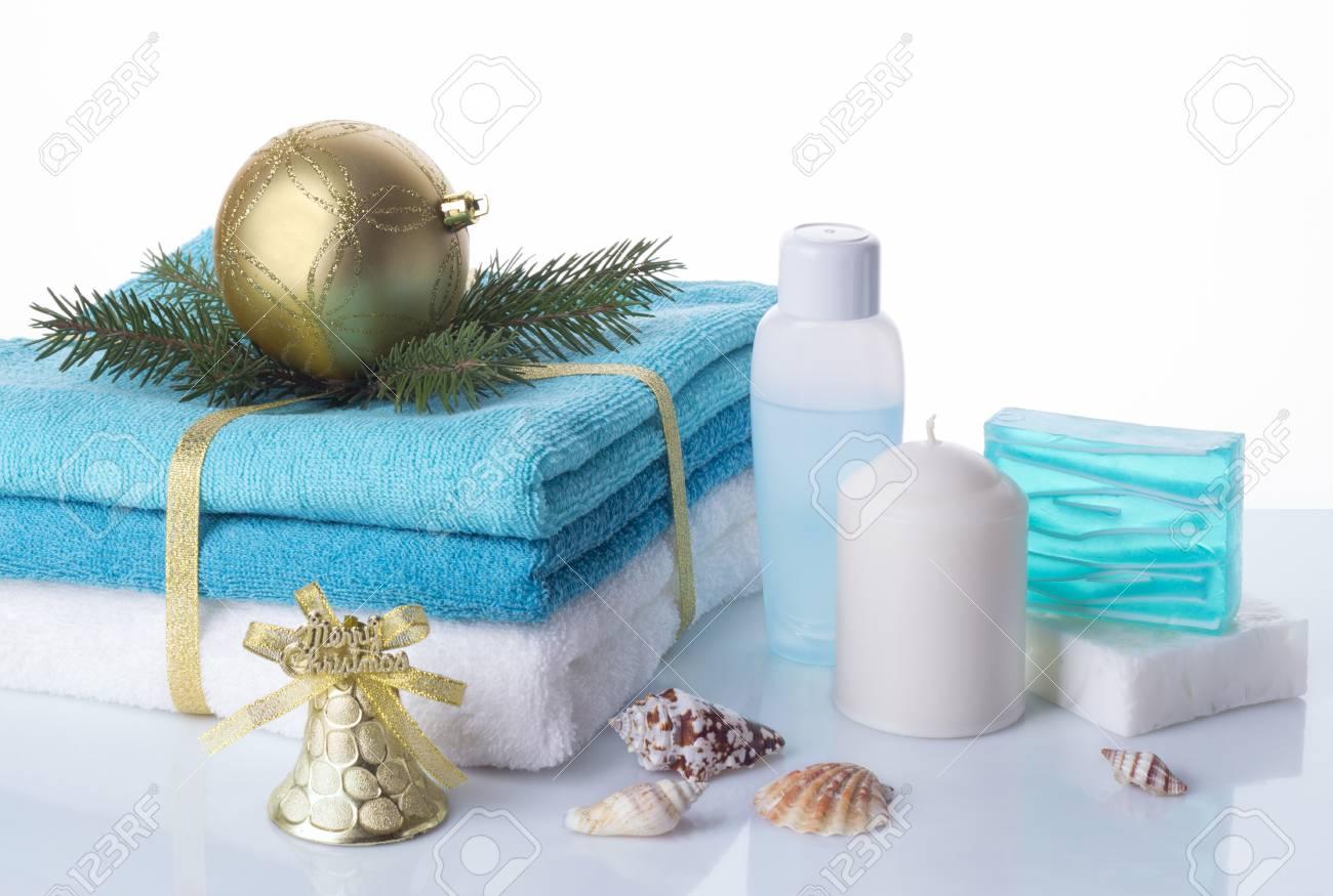 Weihnachten Spa-Set Isoliert Auf Weißem Hintergrund. Spa-Behandlung ...