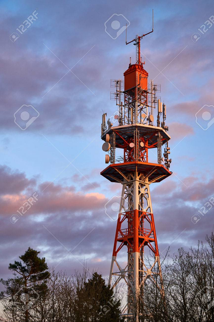 Small radio tower at sunset on the Oschenberg, Bayreuth, Germany