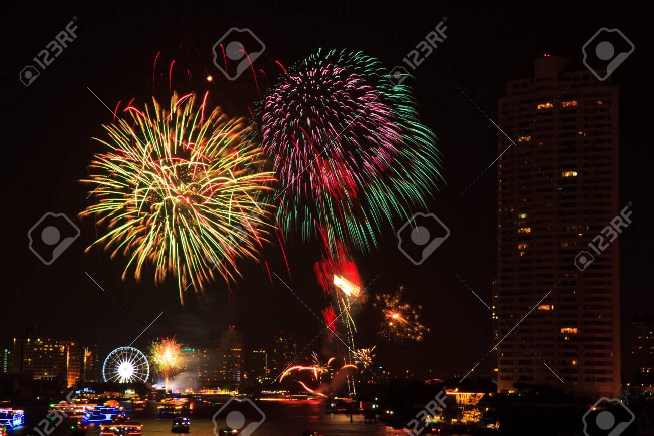 fireworks at bangkok it happy new year thailand stock photo 17077239
