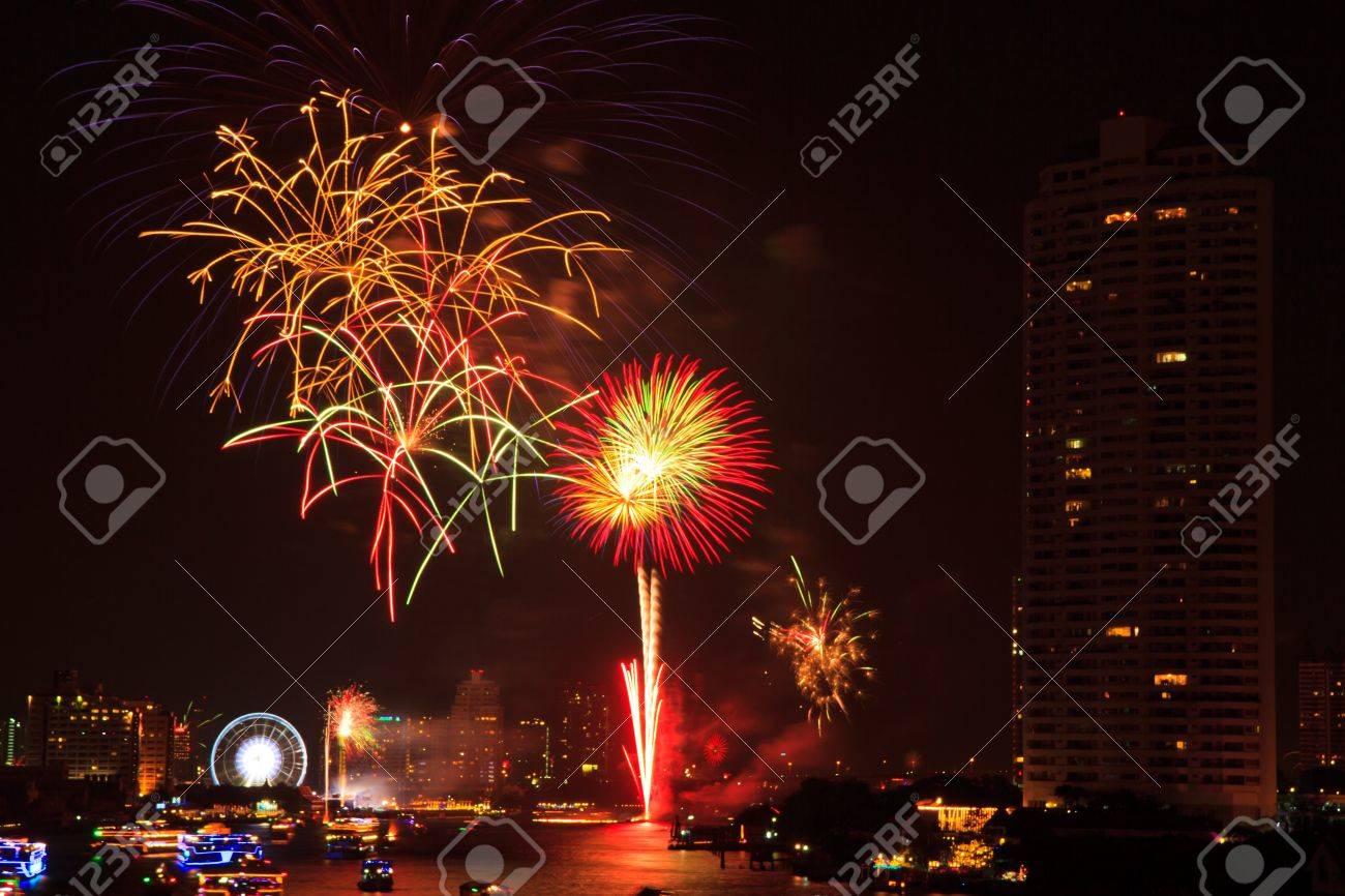 fireworks at bangkok it happy new year thailand stock photo 17077181