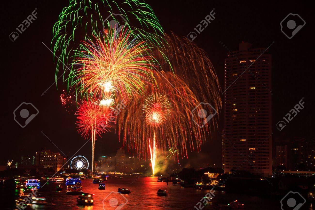 fireworks at bangkok it happy new year thailand stock photo 17077245