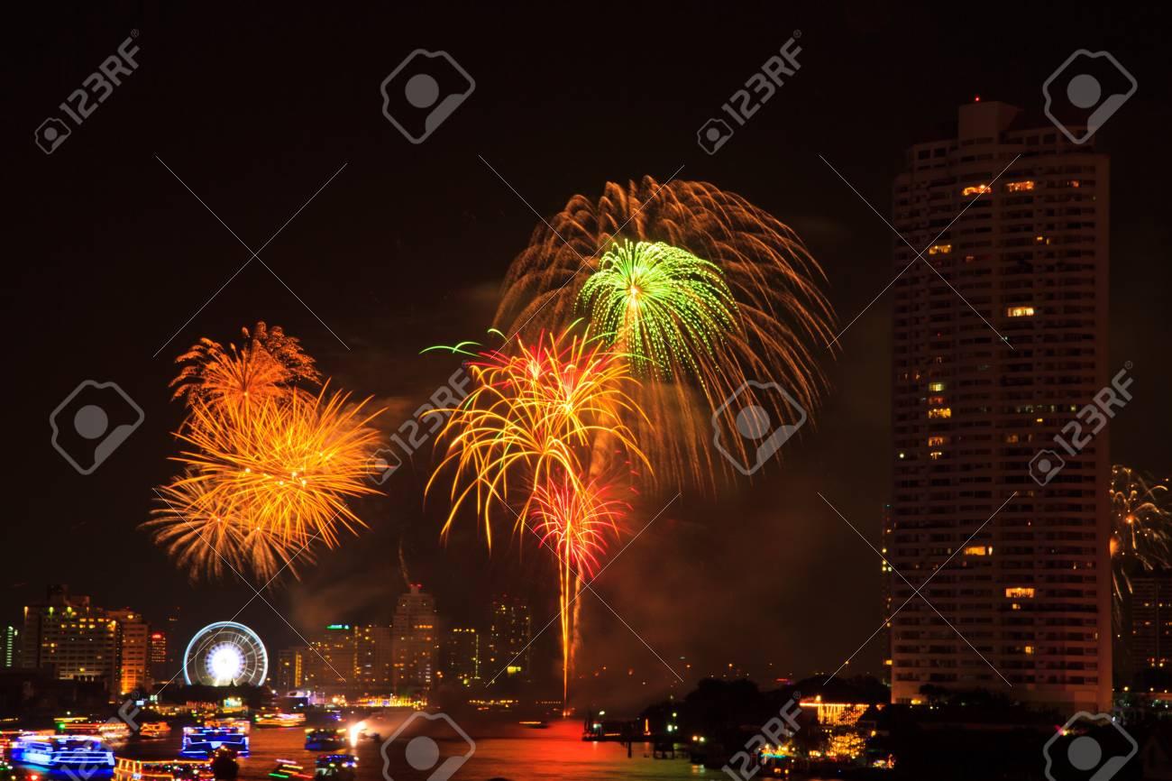 fireworks at bangkok it happy new year thailand stock photo 17077203