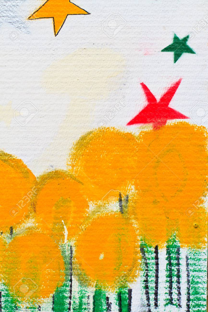 painted stars and yellow tree, You can use background Stock Photo - 17272000