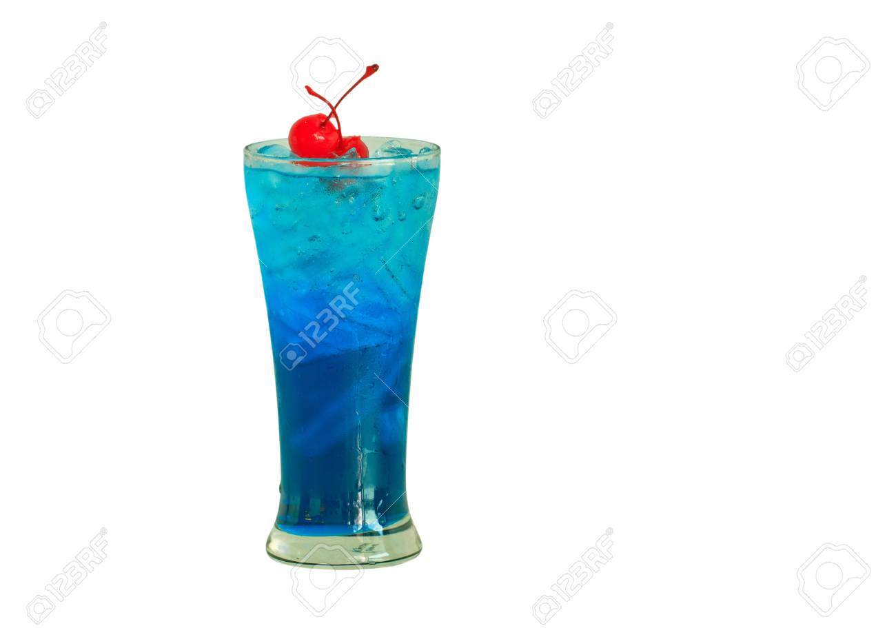 Close up one blue cocktail and cherry in glass Stock Photo - 17288780