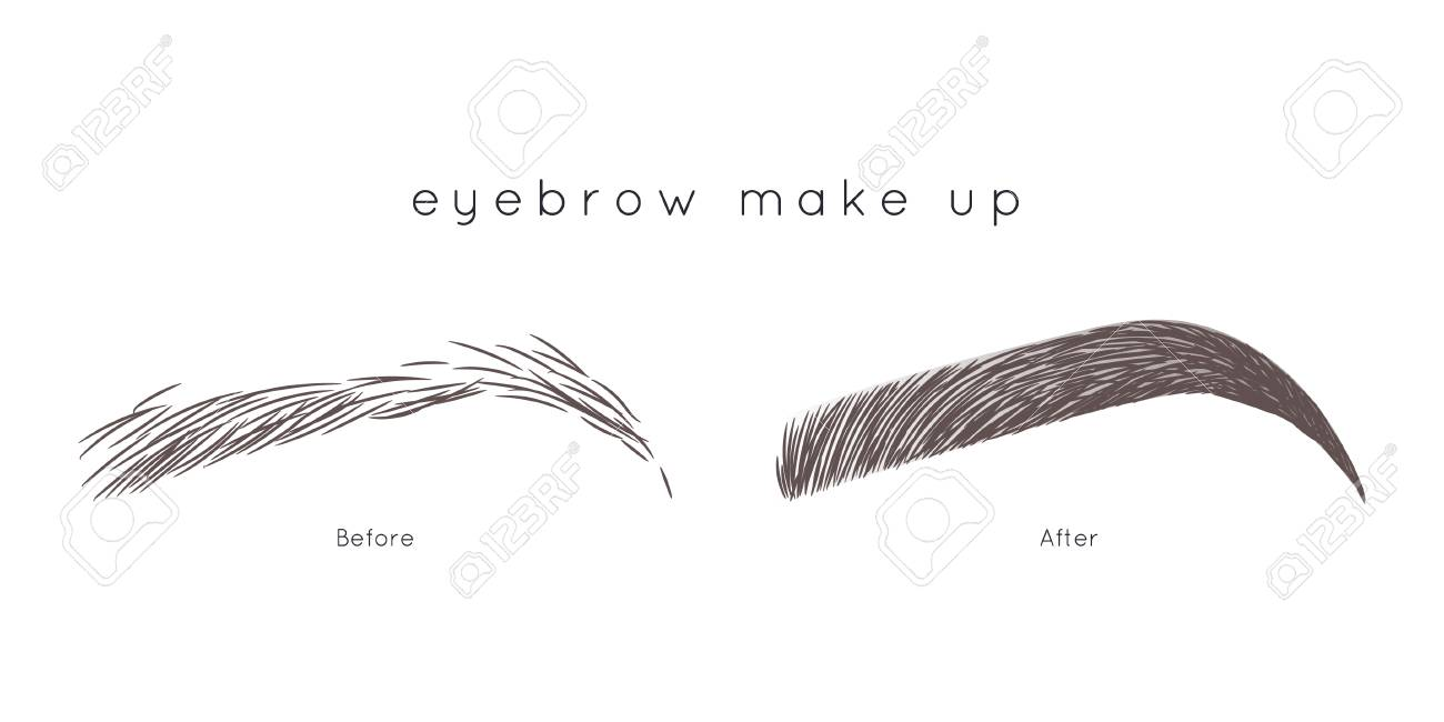 How to make up eyebrow eyebrow tutorial beautiful brow step by step stock vector