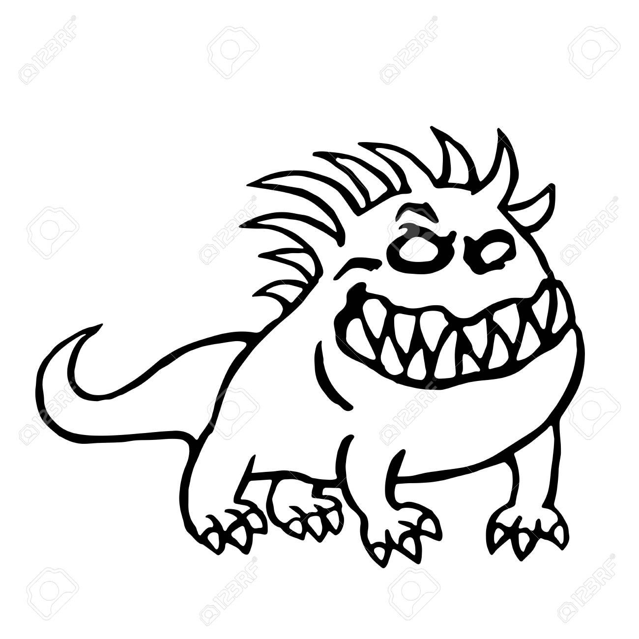 Cartoon Big Dog From Hell Cute Monster Vector Illustration
