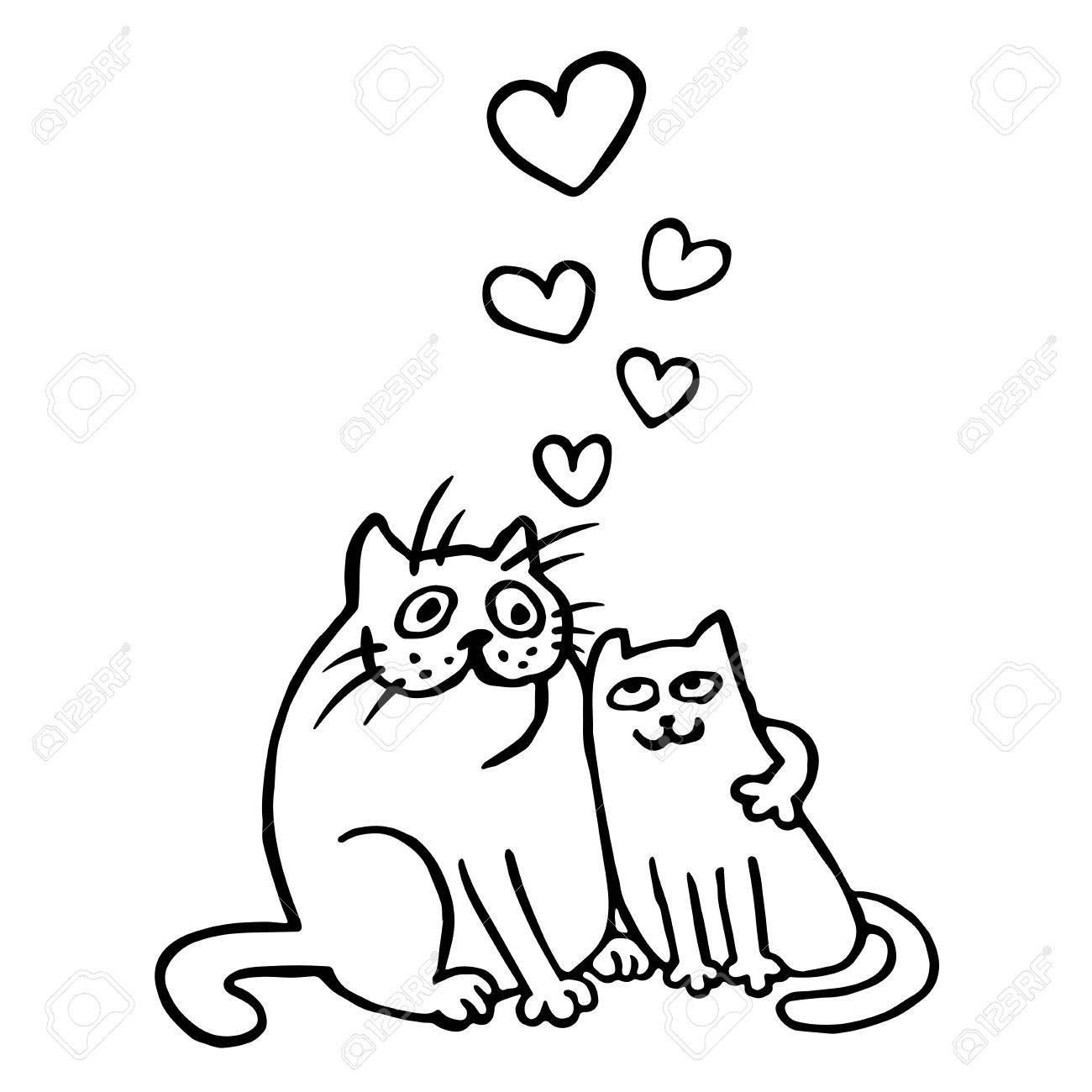 Sweet Enamored Cats En Couleurs Noir Et Blanc Humeur Romantique