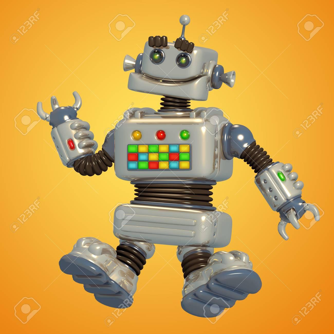 Robot Gris Mignon Illustration Pixel Fiction Caractère De Bande Dessinée Originale
