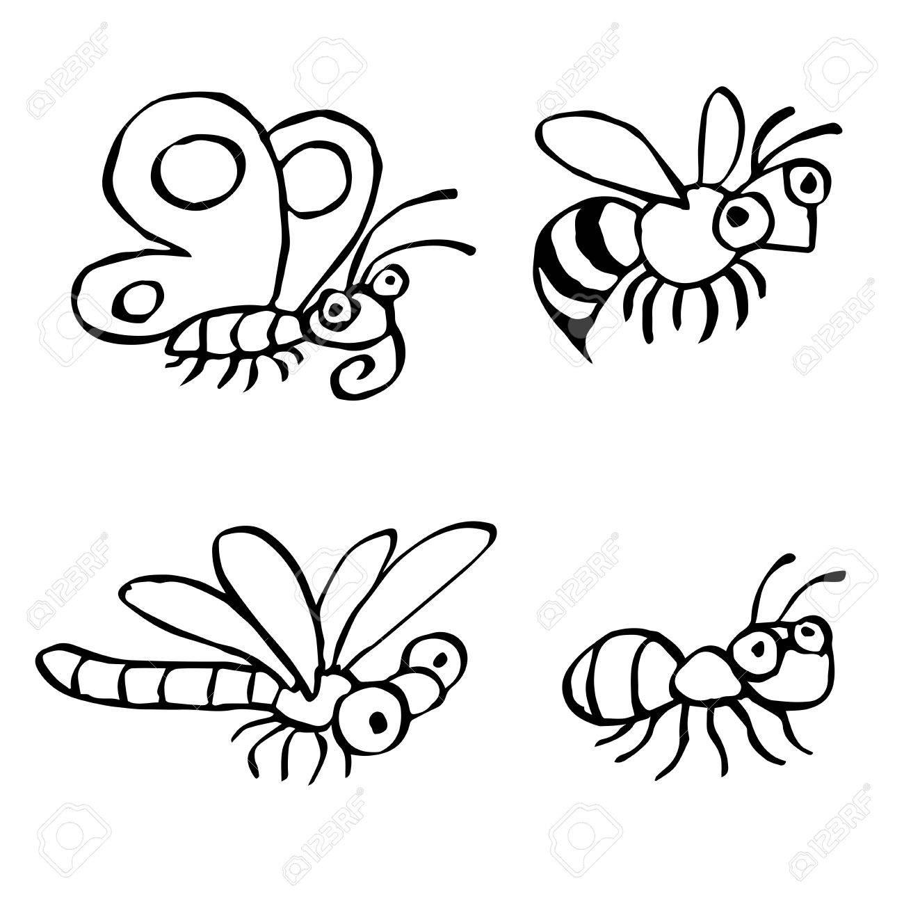 Insectes Mignons Rampant Illustration Vectorielle Contour Des Caractères De Dessin Numérique à Main Levée Papillon Guêpe Libellule Et Fourmi