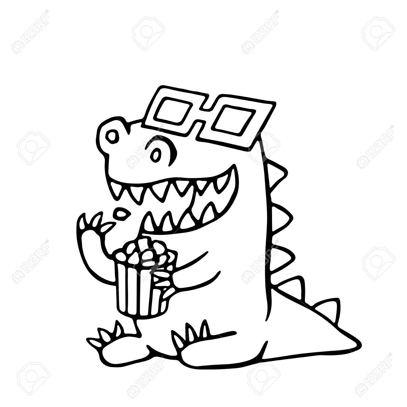 ステレオ メガネとポップコーンの箱に漫画ドラゴンベクトルの図