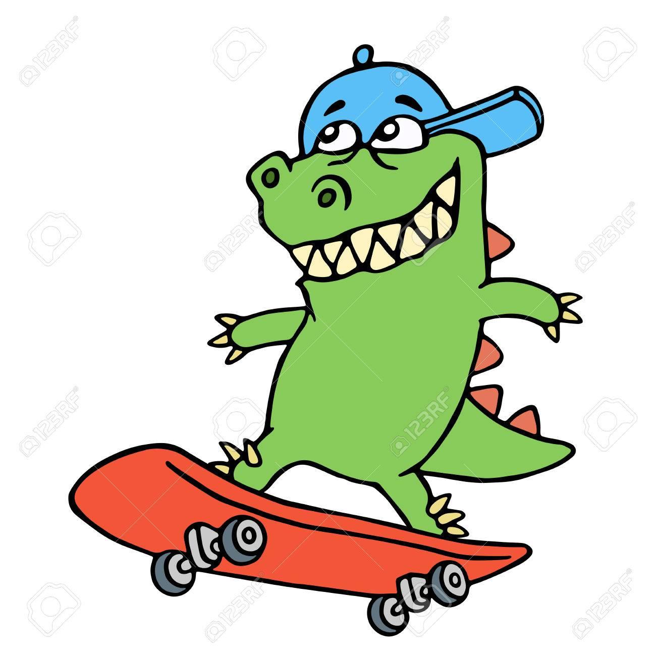 キャップのドリー漫画ドラゴンはスケート ボードに乗ってベクトルの図