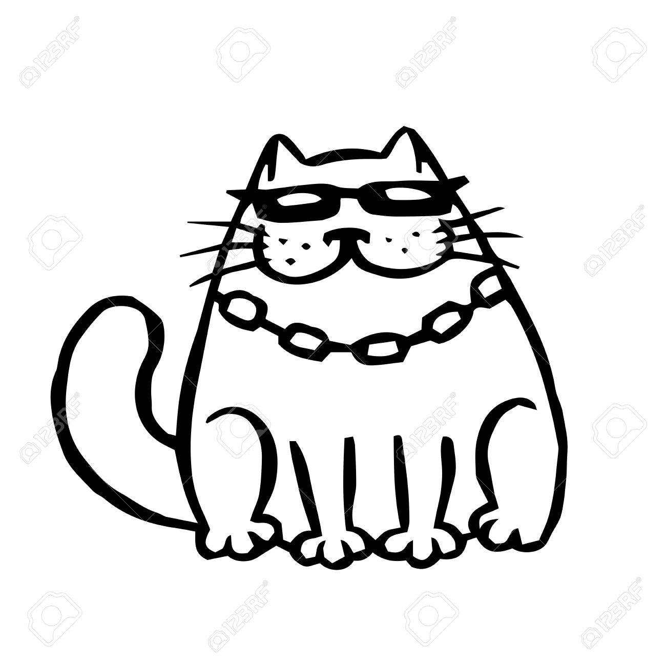 Bandit Cat In Black Glasses Funny Cartoon Cool Character Contour Royalty Free Cliparts Vectors And Stock Illustration Image 82361090