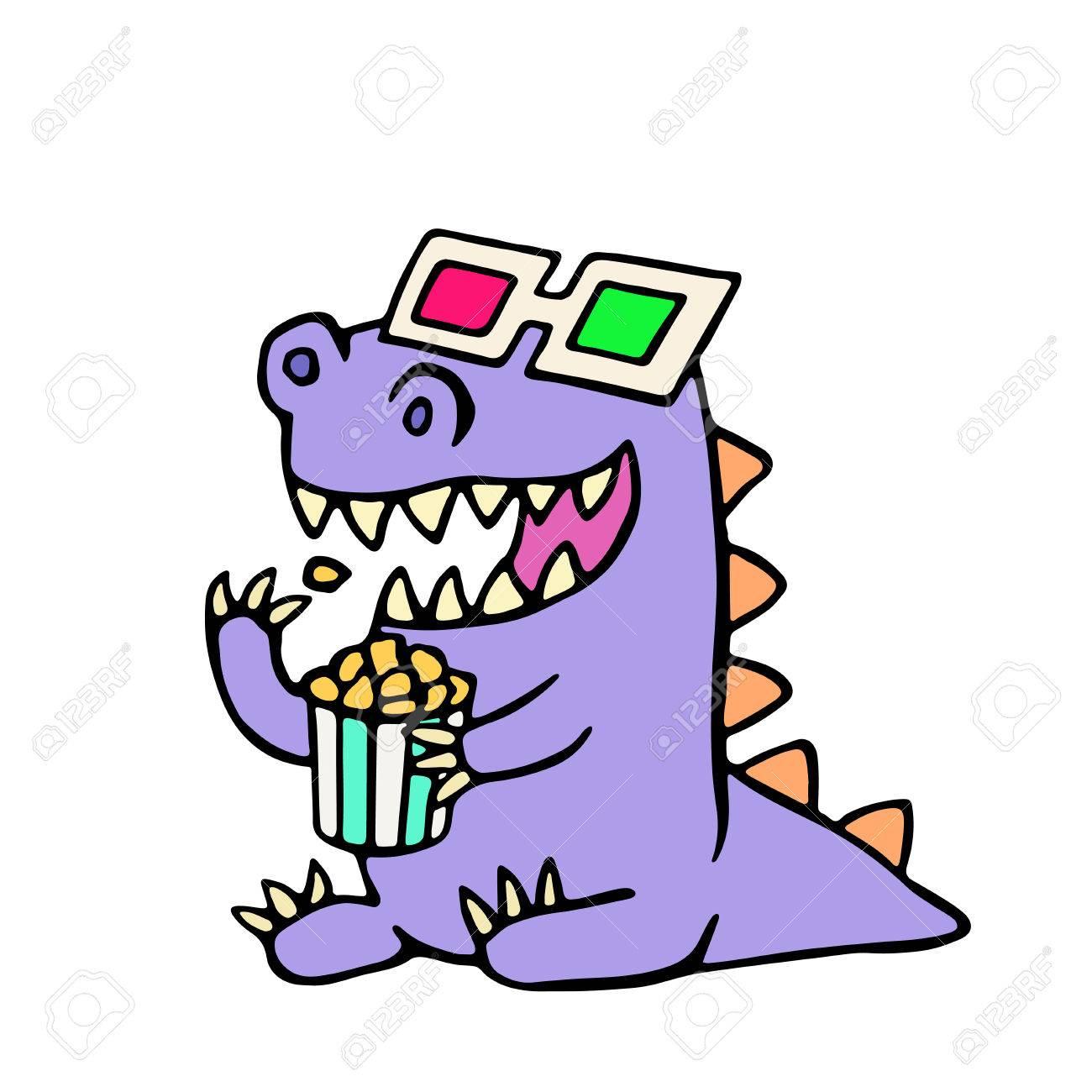 ハッピー ドラゴン アナグリフ眼鏡とポップコーンの箱ベクトルの図