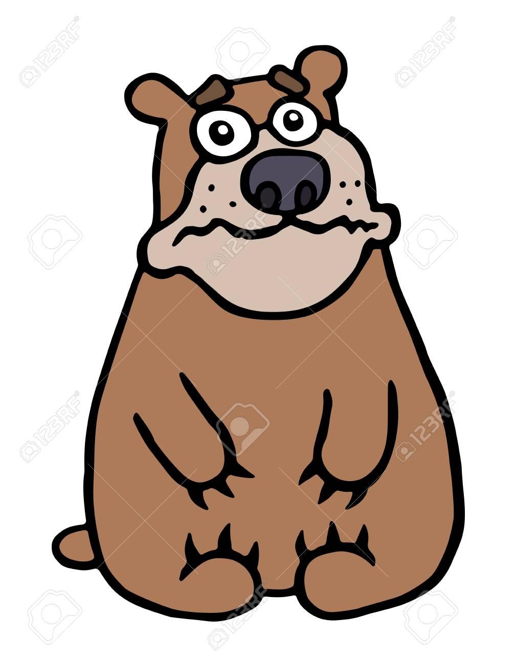 かわいい不幸なクマ。ベクトル イラスト。憂鬱な漫画動物のキャラクター