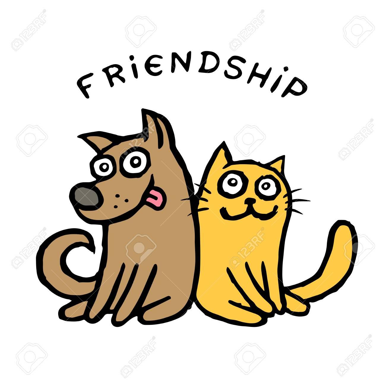 Amistad Perro Kik Y Gato Tik Mejores Amigos Ilustración Vectorial