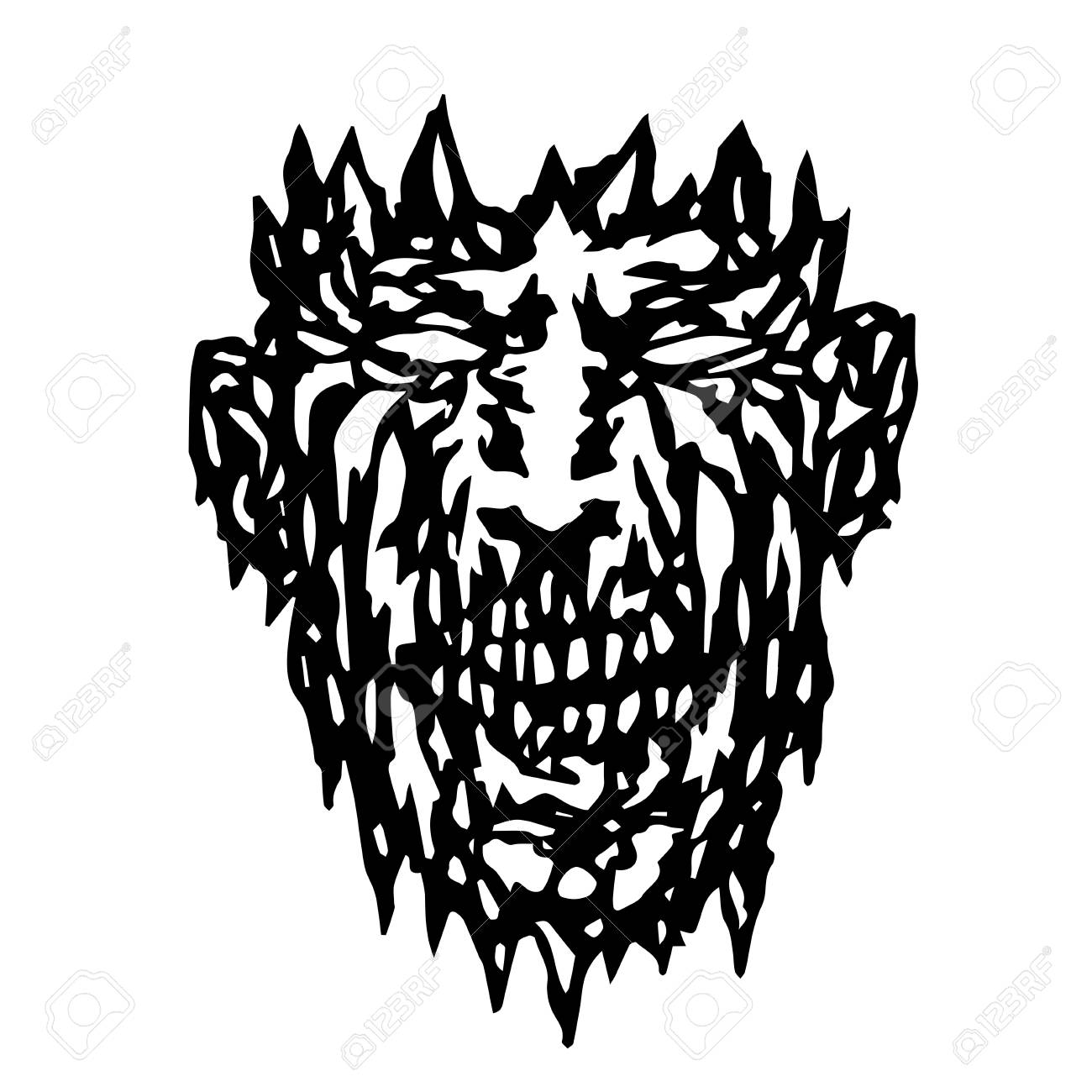 Evil Monster Face. Angry Mask In Horror Genre. Royalty Free Cliparts ... e71e8ce24655