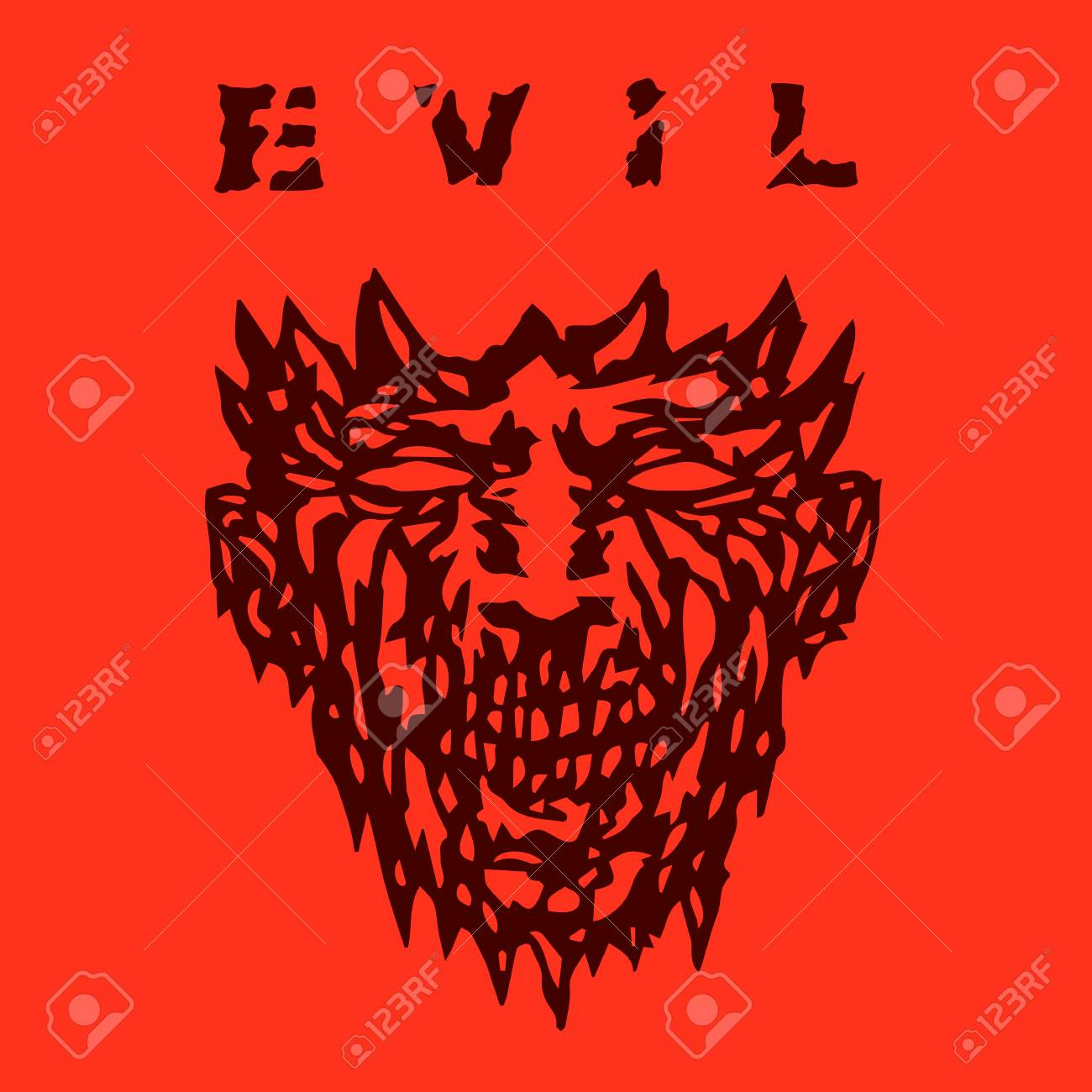 Evil Monster Face. Angry Mask In Horror Genre. Stock Photo 0e02874c7dc8