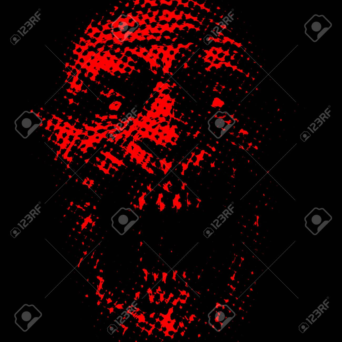 121640348 abstraction zombie face on black background red color illustration in horror genre scary monster cha