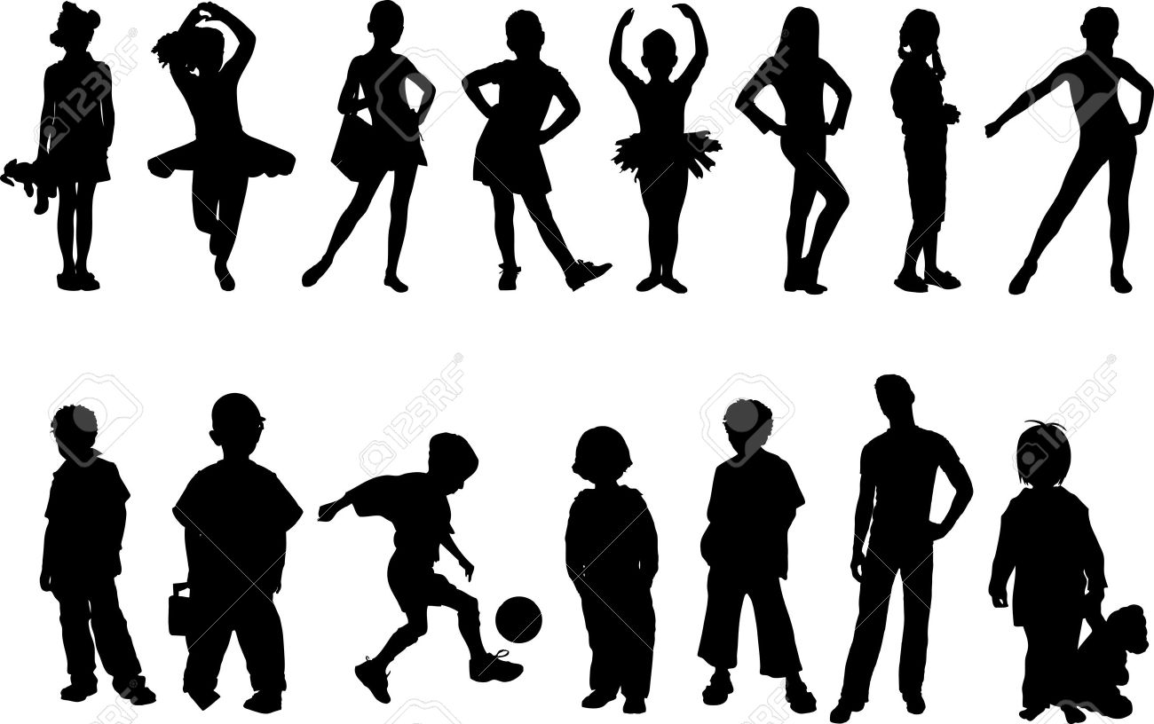 kids silhouette royalty free cliparts vectors and stock rh 123rf com child playing silhouette vector child face silhouette vector