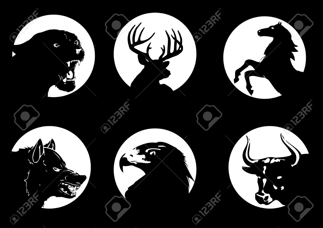 Animal silhouettes on moonlight Stock Vector - 8293709